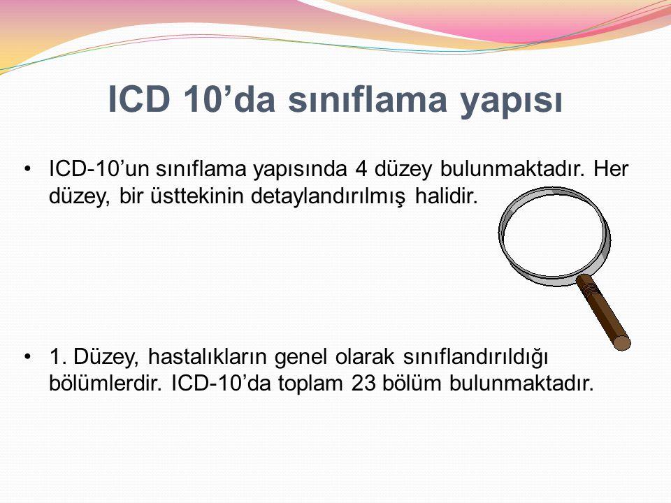 ICD 10'da sınıflama yapısı