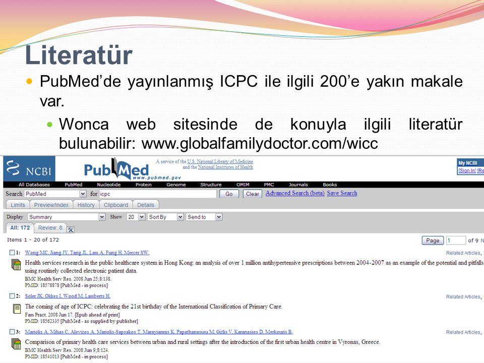 Literatür PubMed'de yayınlanmış ICPC ile ilgili 200'e yakın makale var.