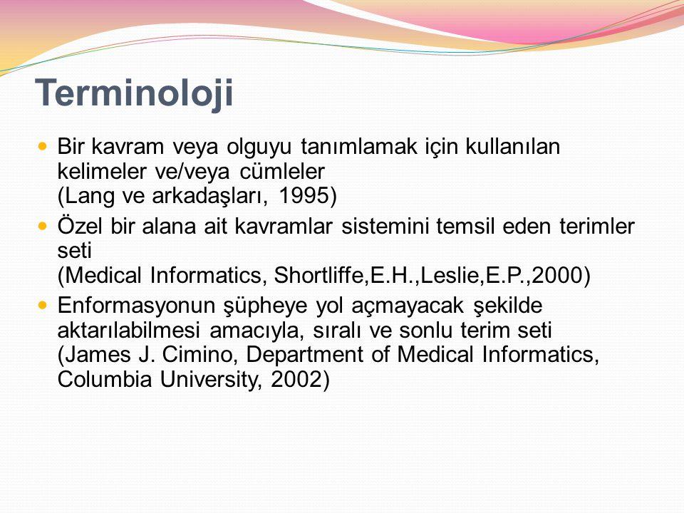Terminoloji Bir kavram veya olguyu tanımlamak için kullanılan kelimeler ve/veya cümleler (Lang ve arkadaşları, 1995)