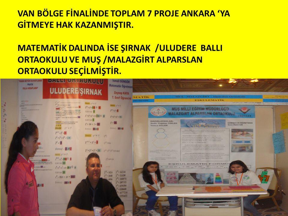 VAN BÖLGE FİNALİNDE TOPLAM 7 PROJE ANKARA 'YA GİTMEYE HAK KAZANMIŞTIR.
