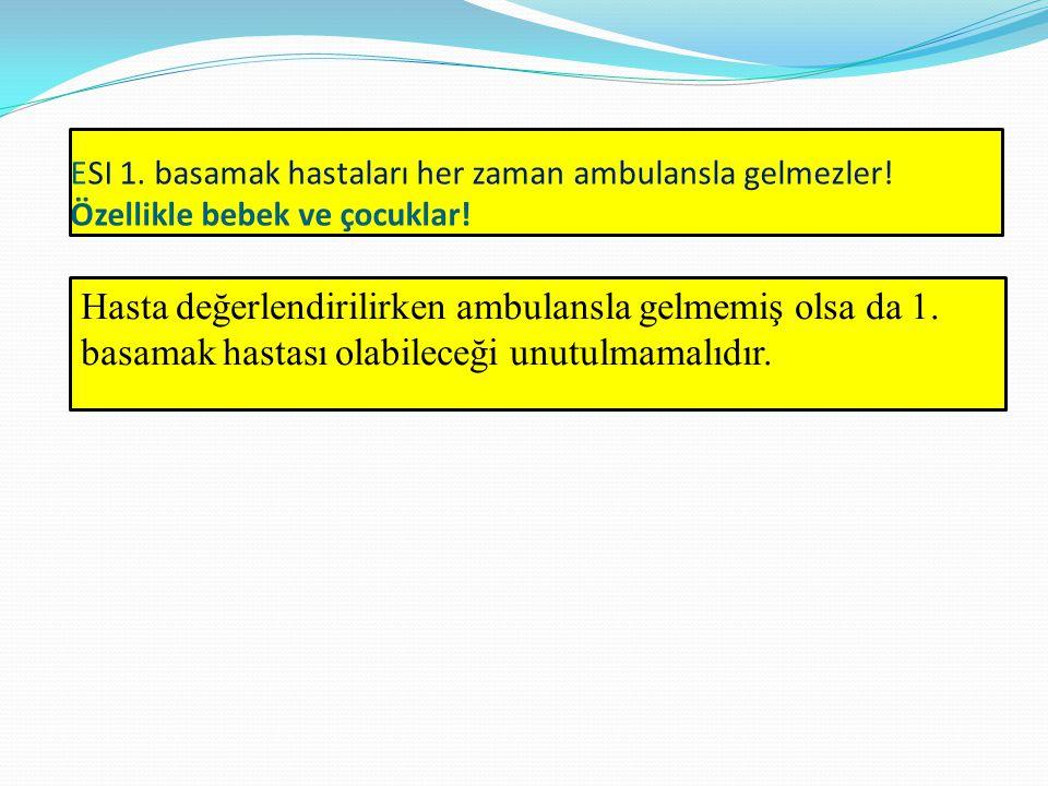 ESI 1. basamak hastaları her zaman ambulansla gelmezler