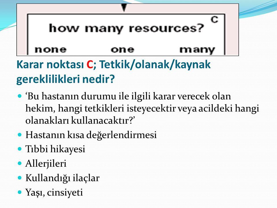 Karar noktası C; Tetkik/olanak/kaynak gereklilikleri nedir