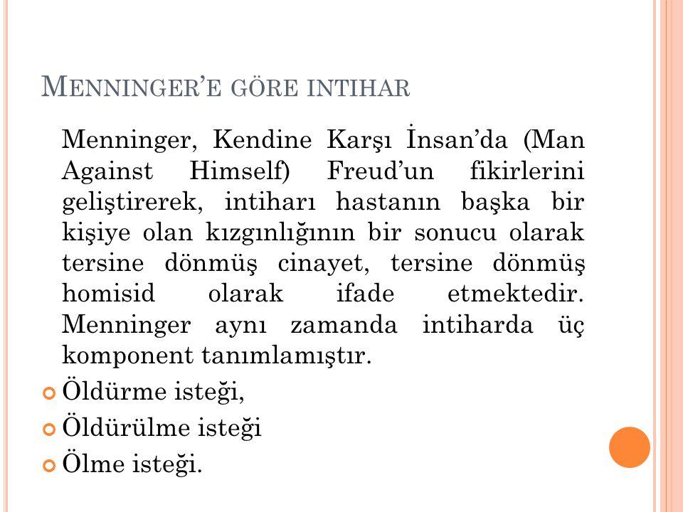 Menninger'e göre intihar