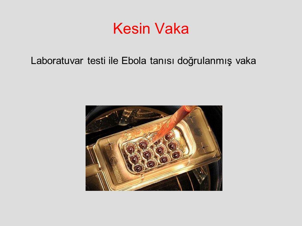 Laboratuvar testi ile Ebola tanısı doğrulanmış vaka