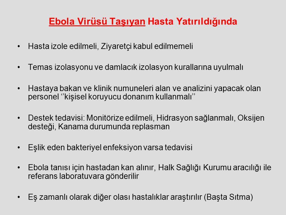 Ebola Virüsü Taşıyan Hasta Yatırıldığında