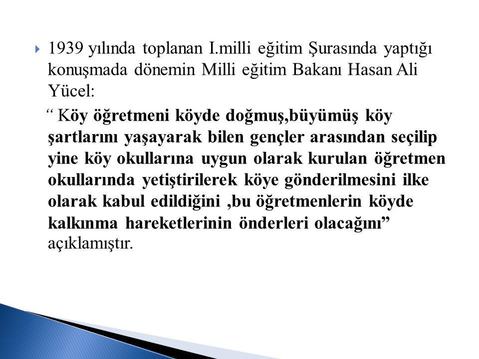 1939 yılında toplanan I.milli eğitim Şurasında yaptığı konuşmada dönemin Milli eğitim Bakanı Hasan Ali Yücel: