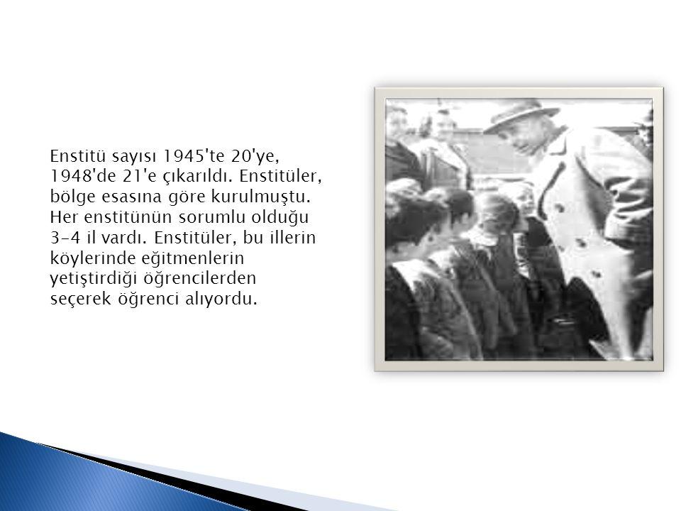 Enstitü sayısı 1945 te 20 ye, 1948 de 21 e çıkarıldı