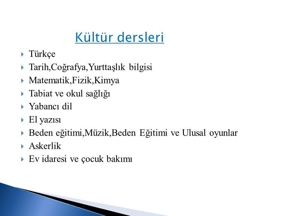 Kültür dersleri Türkçe Tarih,Coğrafya,Yurttaşlık bilgisi