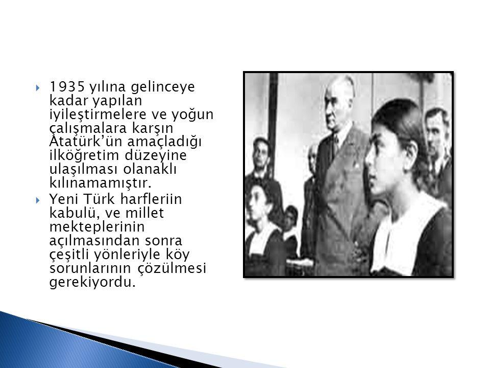 1935 yılına gelinceye kadar yapılan iyileştirmelere ve yoğun çalışmalara karşın Atatürk'ün amaçladığı ilköğretim düzeyine ulaşılması olanaklı kılınamamıştır.