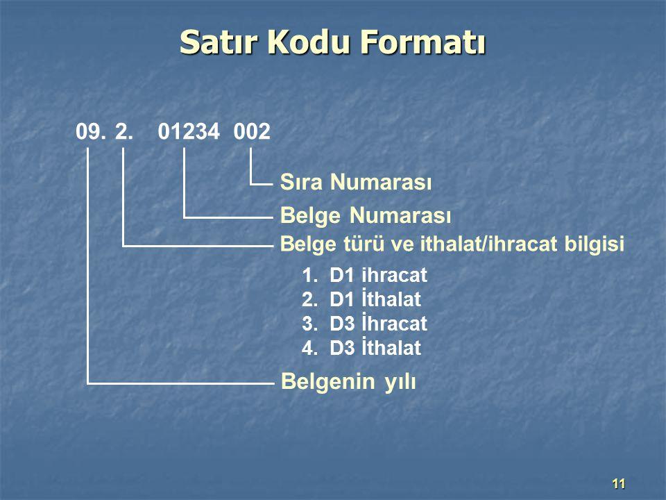 Satır Kodu Formatı 09. 2. 01234 002 Sıra Numarası Belge Numarası