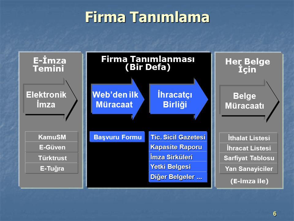 Firma Tanımlanması (Bir Defa)