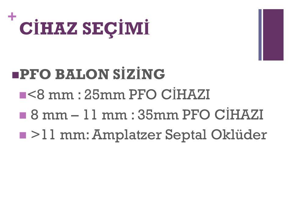 CİHAZ SEÇİMİ PFO BALON SİZİNG <8 mm : 25mm PFO CİHAZI