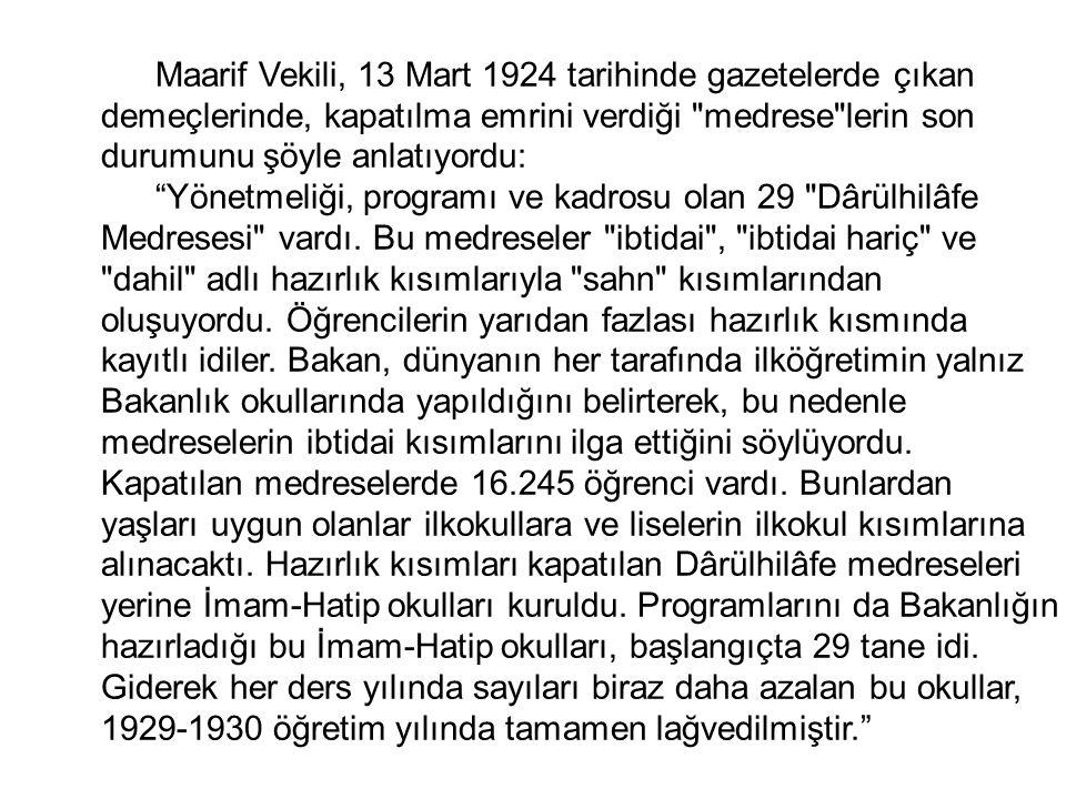 Maarif Vekili, 13 Mart 1924 tarihinde gazetelerde çıkan