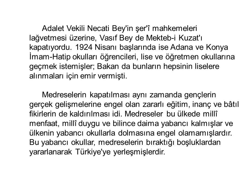 Adalet Vekili Necati Bey in şer î mahkemeleri