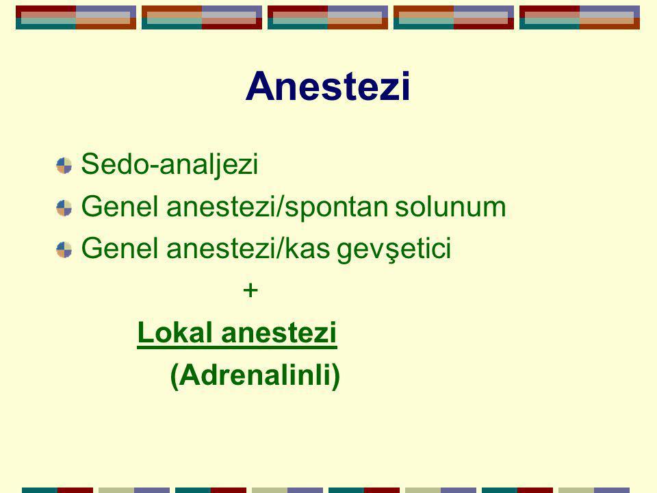 Anestezi Sedo-analjezi Genel anestezi/spontan solunum