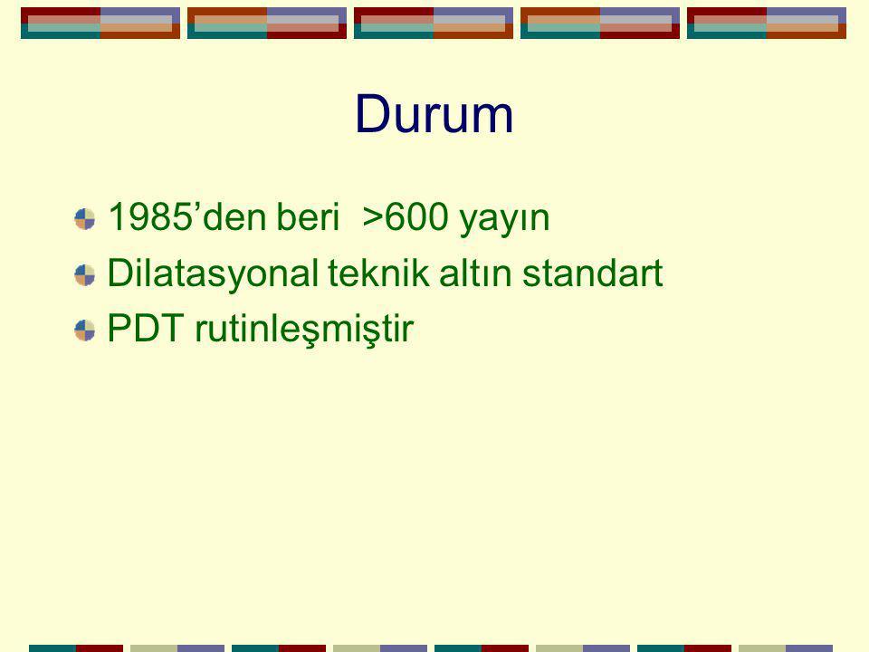 Durum 1985'den beri >600 yayın Dilatasyonal teknik altın standart