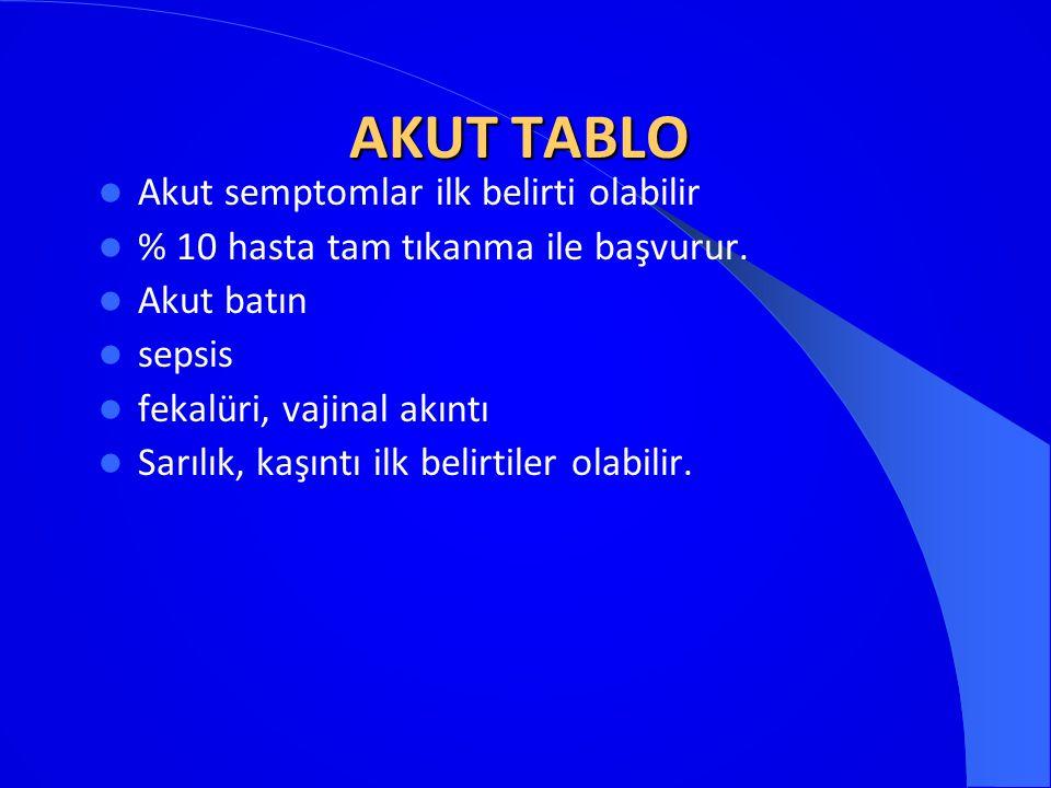 AKUT TABLO Akut semptomlar ilk belirti olabilir
