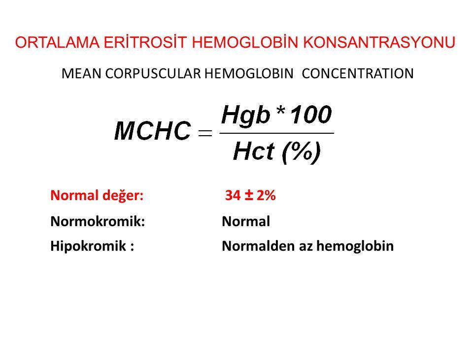 ORTALAMA ERİTROSİT HEMOGLOBİN KONSANTRASYONU MEAN CORPUSCULAR HEMOGLOBIN CONCENTRATION