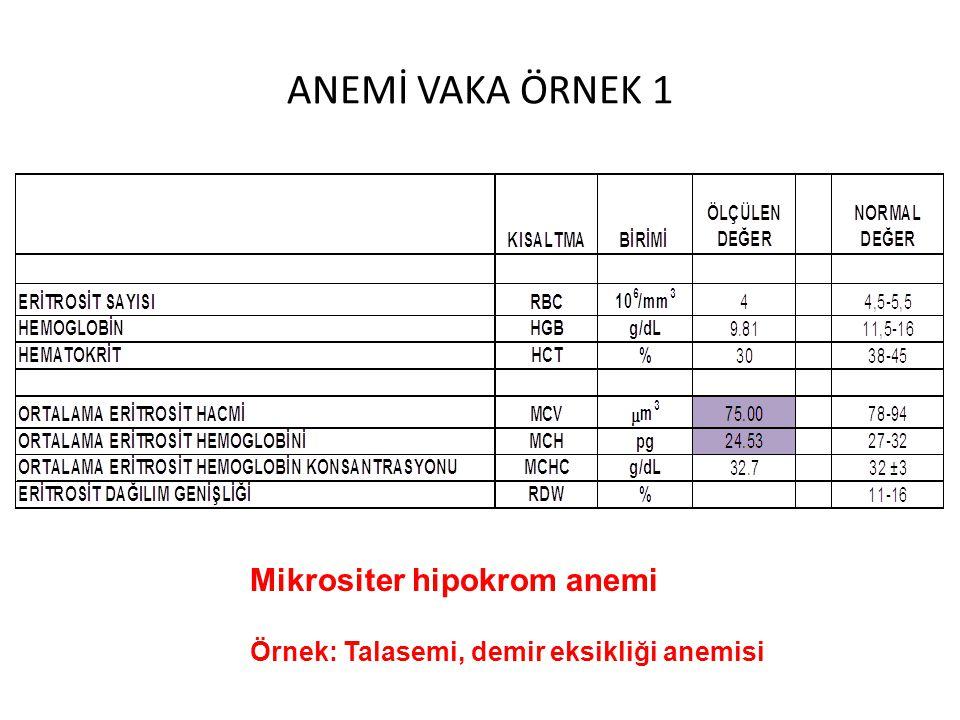 ANEMİ VAKA ÖRNEK 1 Mikrositer hipokrom anemi