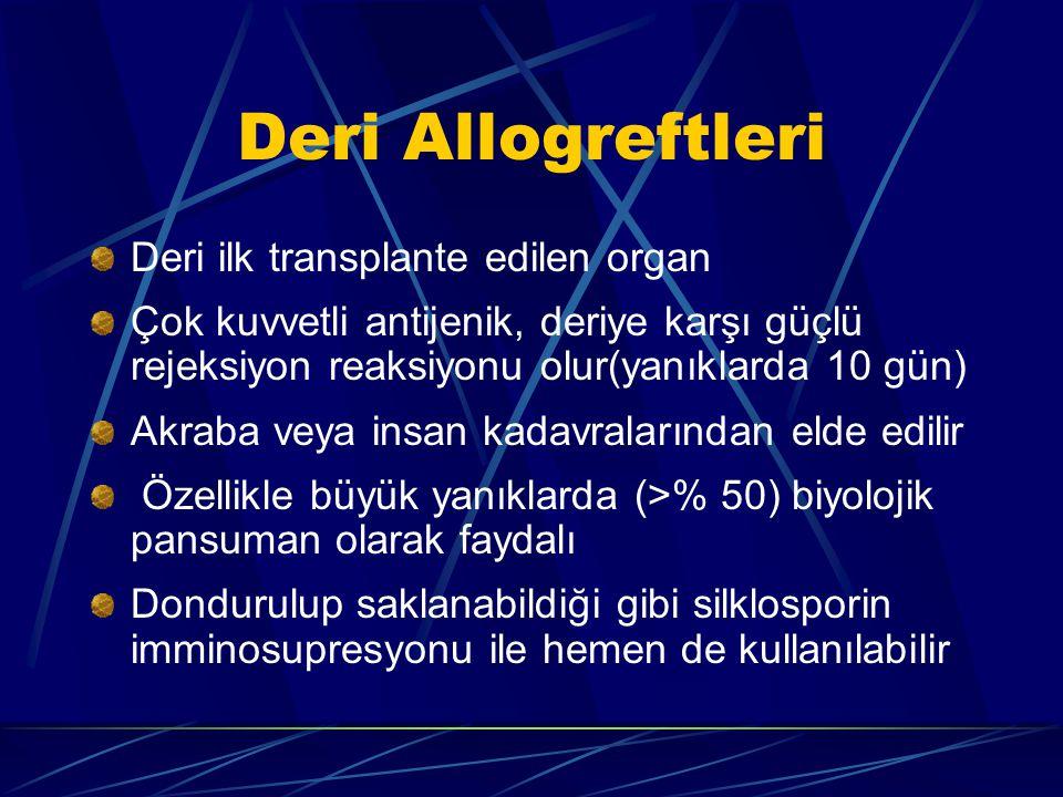 Deri Allogreftleri Deri ilk transplante edilen organ