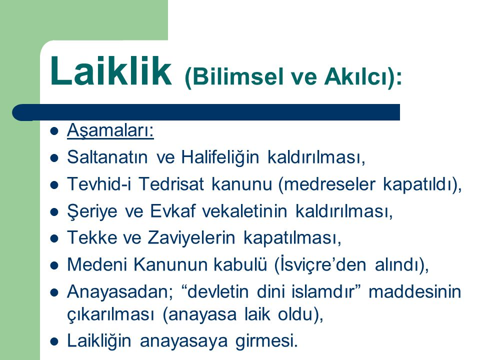 Laiklik (Bilimsel ve Akılcı):
