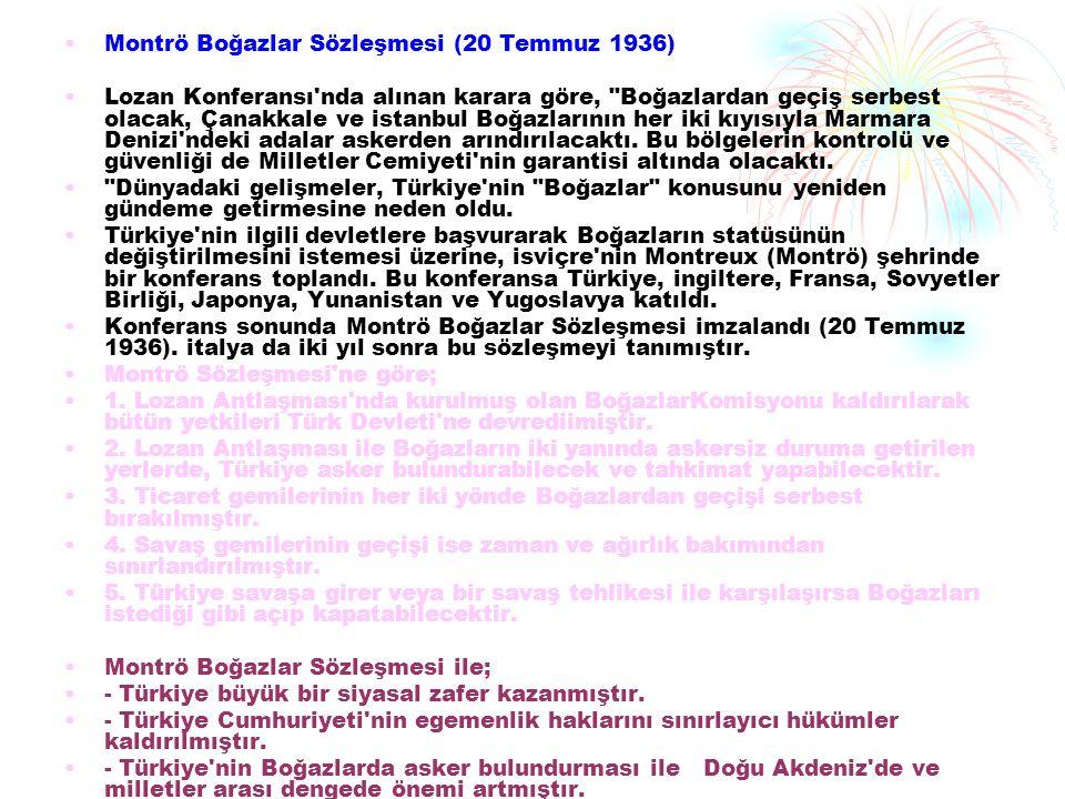Montrö Boğazlar Sözleşmesi (20 Temmuz 1936)
