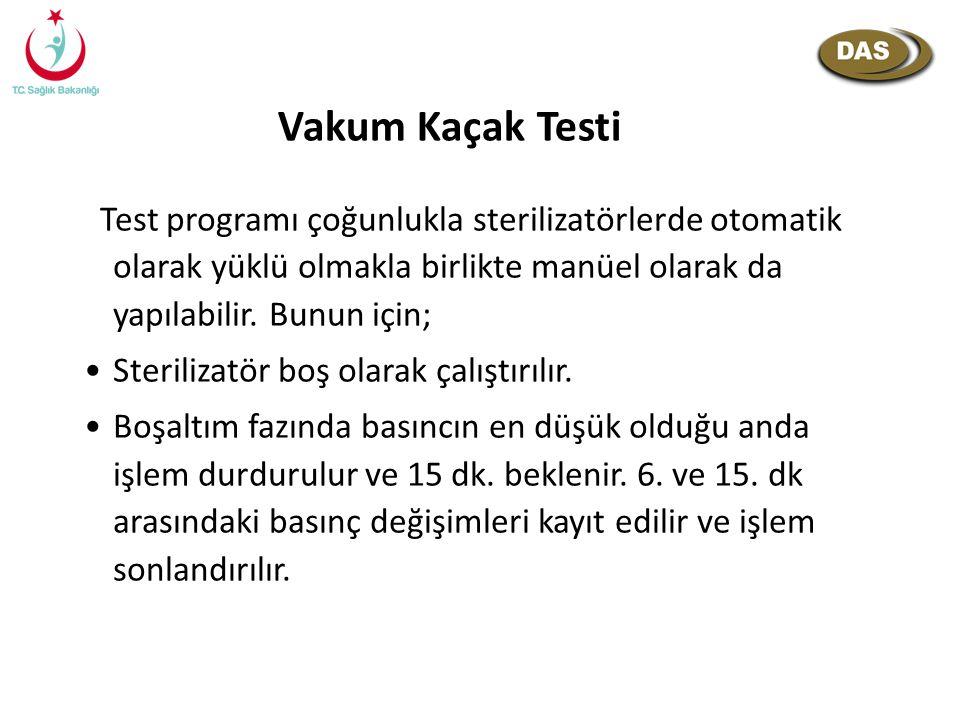 Vakum Kaçak Testi Test programı çoğunlukla sterilizatörlerde otomatik olarak yüklü olmakla birlikte manüel olarak da yapılabilir. Bunun için;