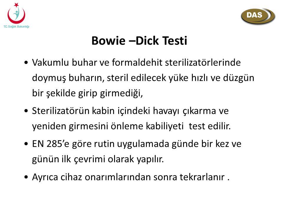 Bowie –Dick Testi Vakumlu buhar ve formaldehit sterilizatörlerinde doymuş buharın, steril edilecek yüke hızlı ve düzgün bir şekilde girip girmediği,