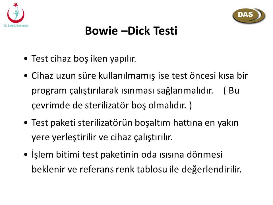 Bowie –Dick Testi Test cihaz boş iken yapılır.