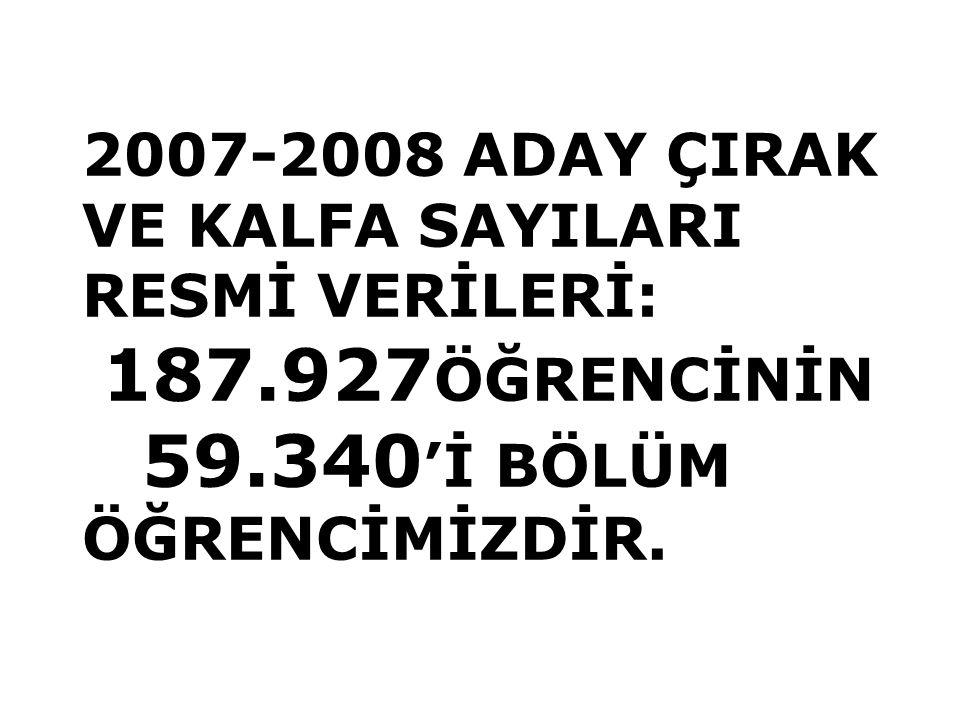 2007-2008 ADAY ÇIRAK VE KALFA SAYILARI RESMİ VERİLERİ: 187