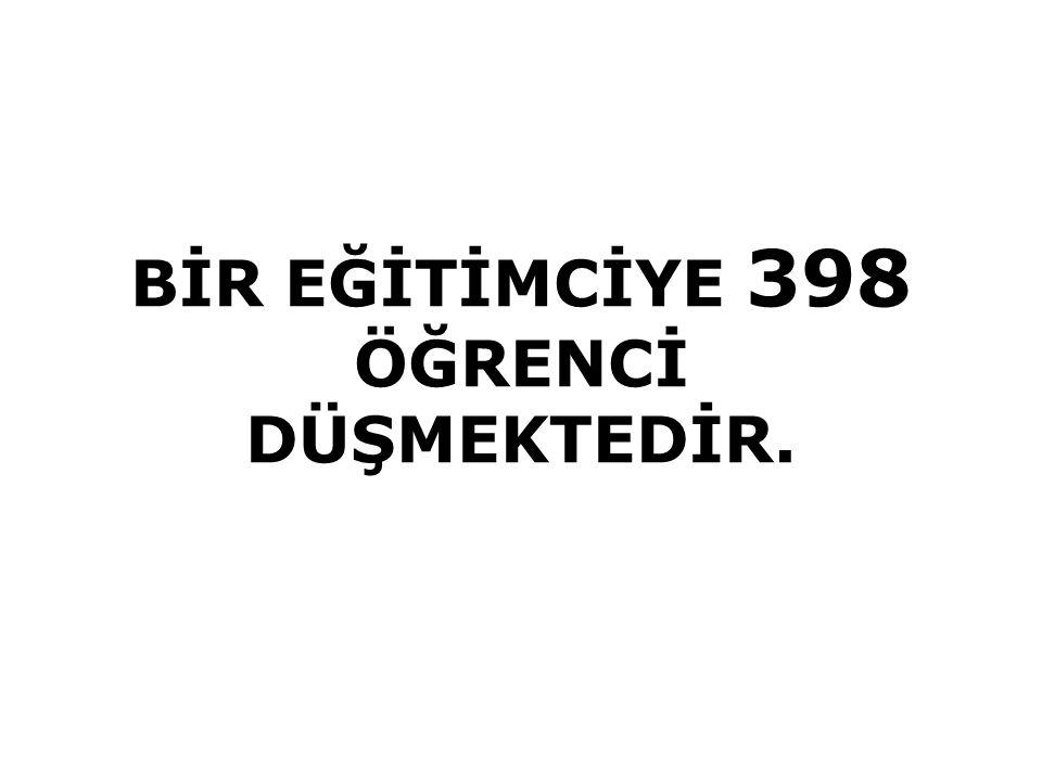 BİR EĞİTİMCİYE 398 ÖĞRENCİ DÜŞMEKTEDİR.