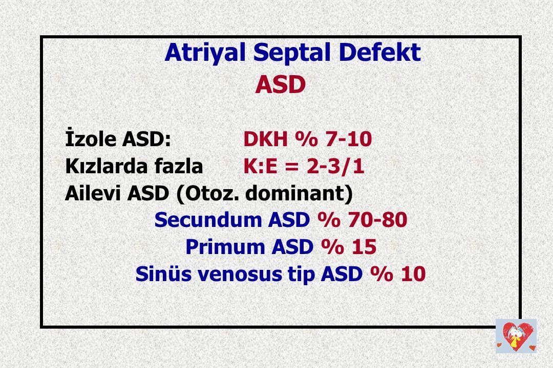 ASD İzole ASD: DKH % 7-10 Kızlarda fazla K:E = 2-3/1