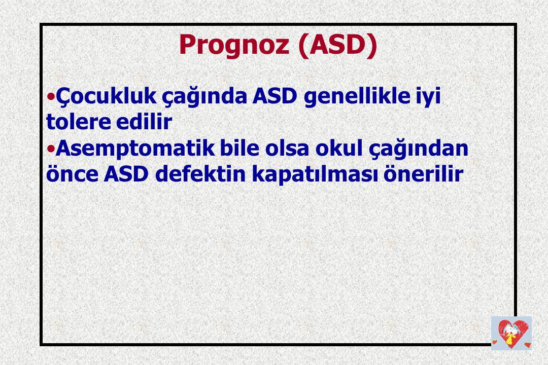 Prognoz (ASD) Çocukluk çağında ASD genellikle iyi tolere edilir