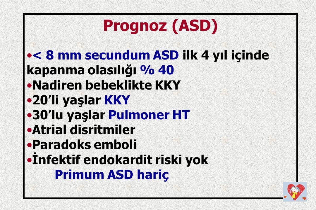 Prognoz (ASD) < 8 mm secundum ASD ilk 4 yıl içinde kapanma olasılığı % 40. Nadiren bebeklikte KKY.