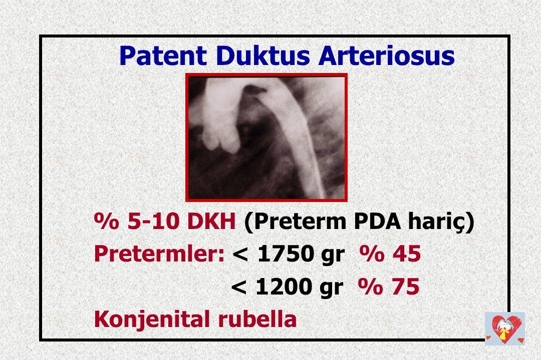 Patent Duktus Arteriosus % 5-10 DKH (Preterm PDA hariç)