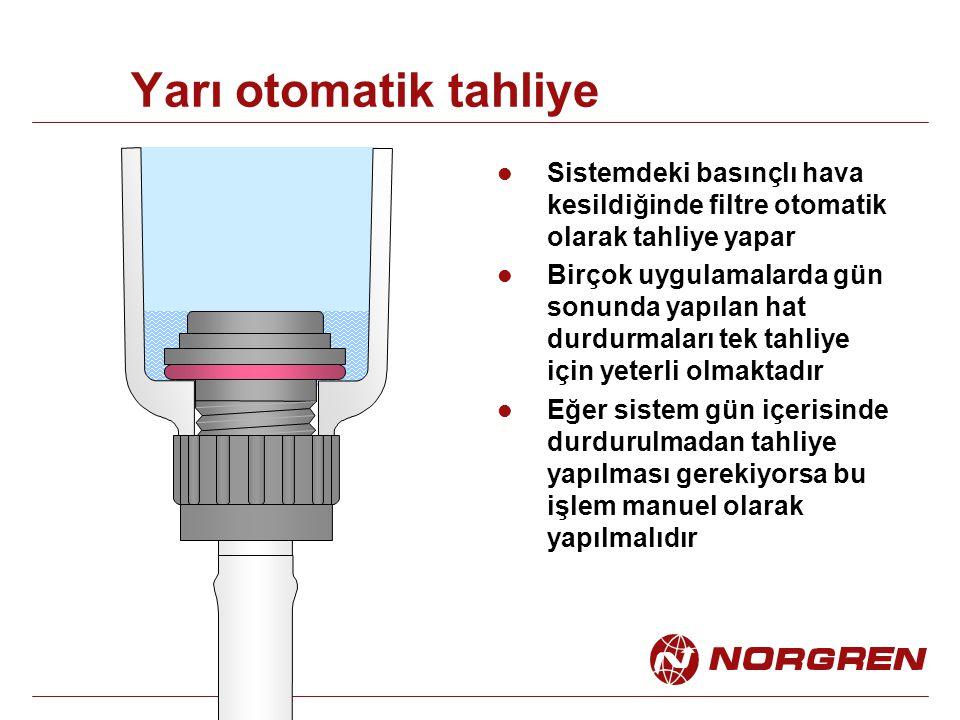 Yarı otomatik tahliye Sistemdeki basınçlı hava kesildiğinde filtre otomatik olarak tahliye yapar.