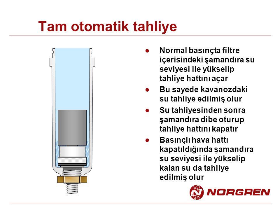 Tam otomatik tahliye Normal basınçta filtre içerisindeki şamandıra su seviyesi ile yükselip tahliye hattını açar.
