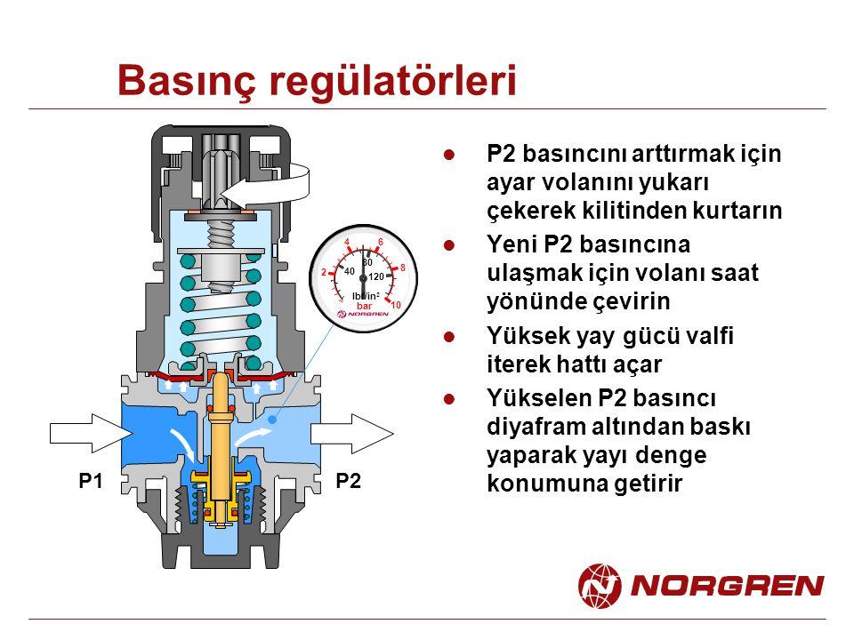Basınç regülatörleri P2 basıncını arttırmak için ayar volanını yukarı çekerek kilitinden kurtarın.