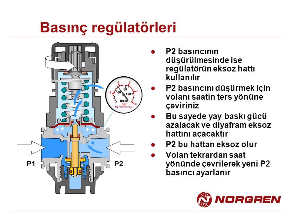 Basınç regülatörleri P2 basıncının düşürülmesinde ise regülatörün eksoz hattı kullanılır.