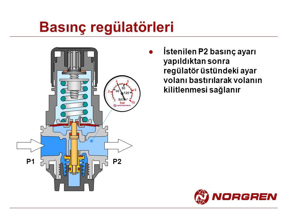 Basınç regülatörleri İstenilen P2 basınç ayarı yapıldıktan sonra regülatör üstündeki ayar volanı bastırılarak volanın kilitlenmesi sağlanır.