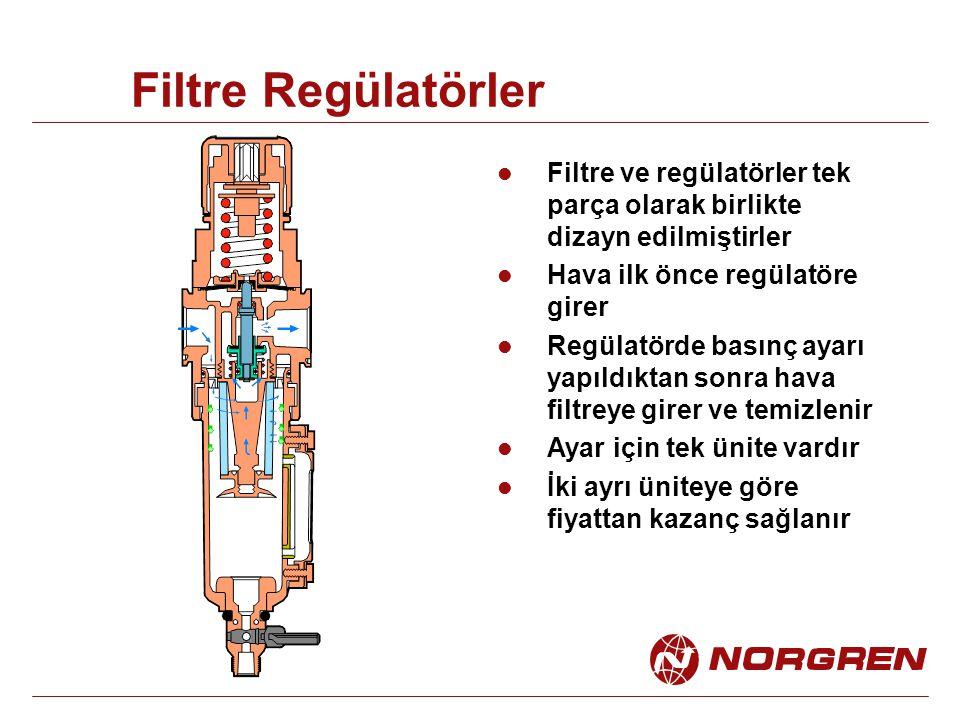 Filtre Regülatörler Filtre ve regülatörler tek parça olarak birlikte dizayn edilmiştirler. Hava ilk önce regülatöre girer.