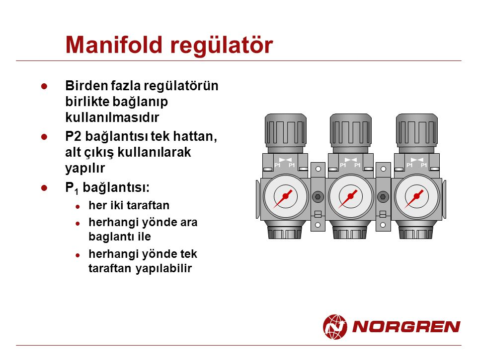 Manifold regülatör Birden fazla regülatörün birlikte bağlanıp kullanılmasıdır. P2 bağlantısı tek hattan, alt çıkış kullanılarak yapılır.