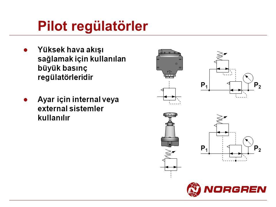 Pilot regülatörler Yüksek hava akışı sağlamak için kullanılan büyük basınç regülatörleridir. Ayar için internal veya external sistemler kullanılır.