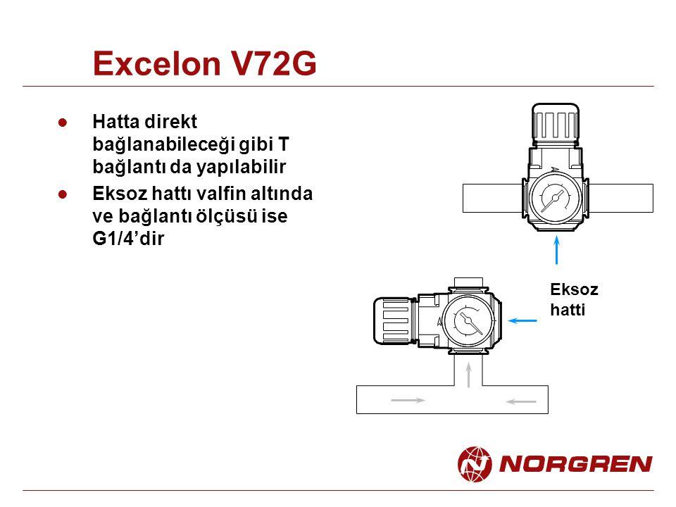 Excelon V72G Hatta direkt bağlanabileceği gibi T bağlantı da yapılabilir. Eksoz hattı valfin altında ve bağlantı ölçüsü ise G1/4'dir.