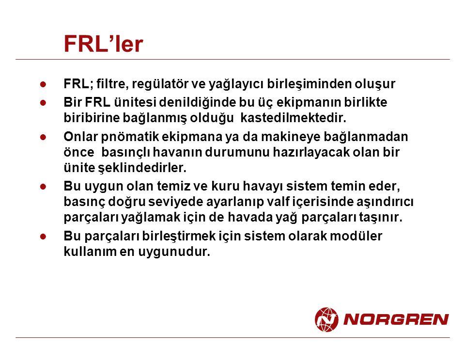 FRL'ler FRL; filtre, regülatör ve yağlayıcı birleşiminden oluşur
