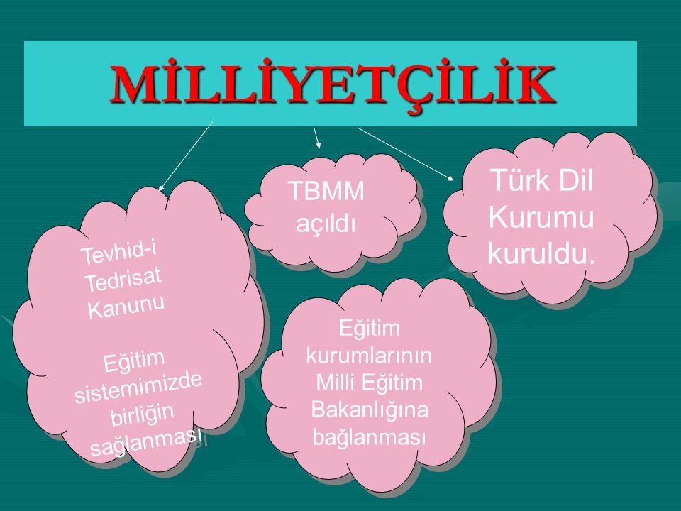 MİLLİYETÇİLİK Türk Dil Kurumu kuruldu. TBMM açıldı