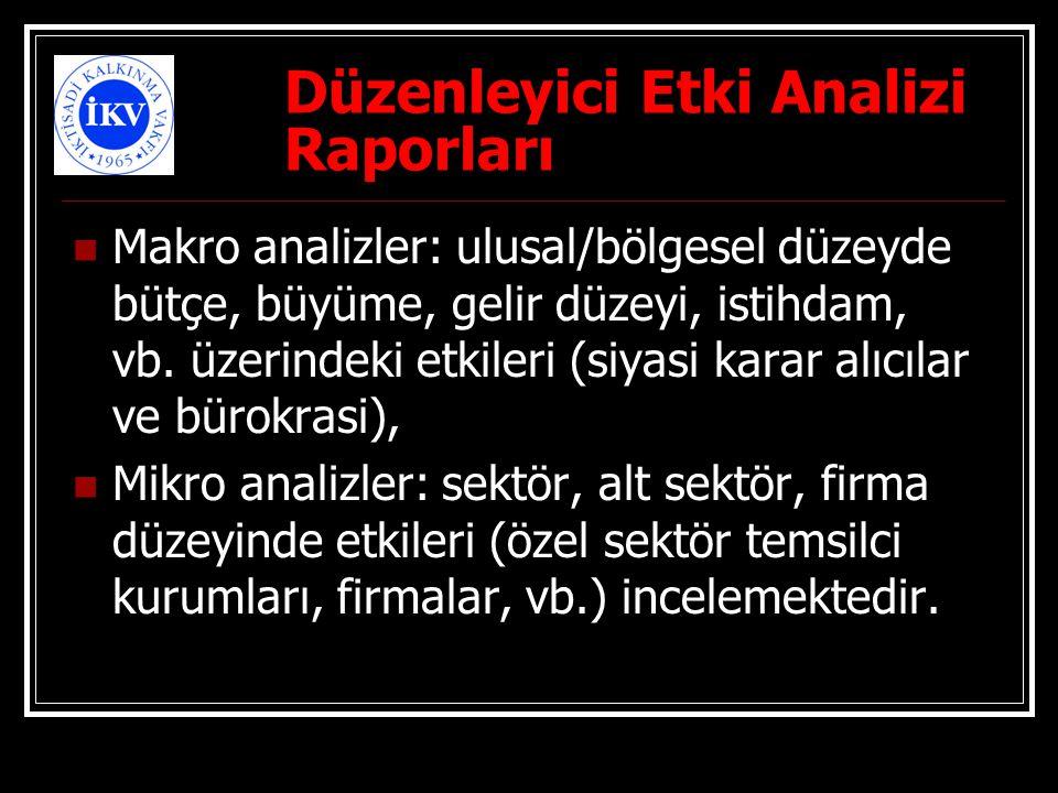 Düzenleyici Etki Analizi Raporları