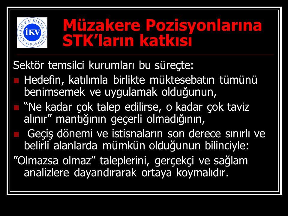 Müzakere Pozisyonlarına STK'ların katkısı