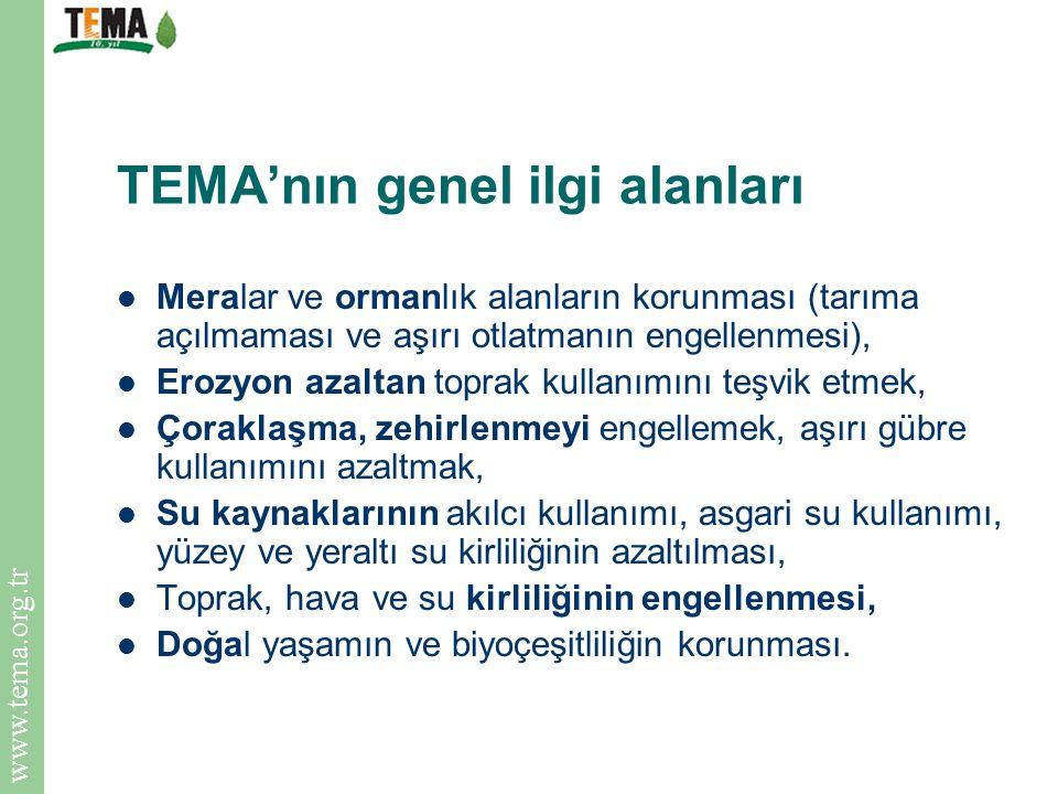 TEMA'nın genel ilgi alanları