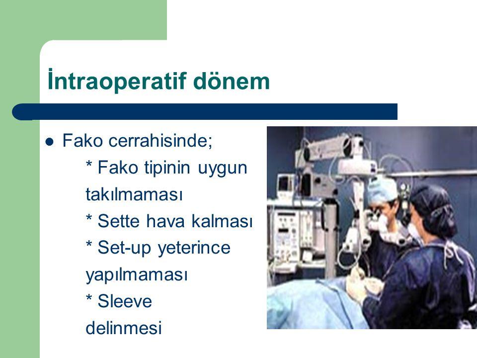 İntraoperatif dönem Fako cerrahisinde; * Fako tipinin uygun